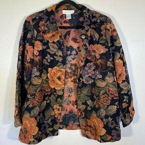 Susan Graver Black Orange Knit Blazer Heavy Floral